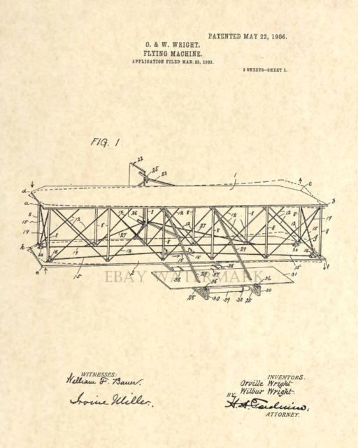 Official Wright Brothers US Patent Art Print - Vintage Antique Aviation - 7   eBay #patentartprints