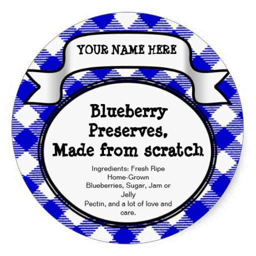 Personalized Canning Jar/Lid Label, Blue Gingham