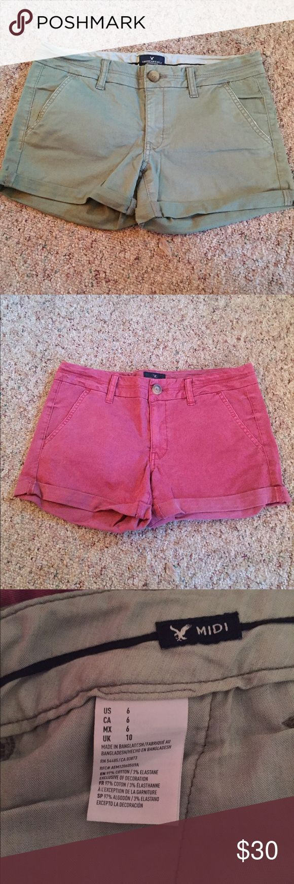 Olive and Maroon Shorts! No tags but never been worn. But size 6. American Eagle. American Eagle Outfitters Shorts