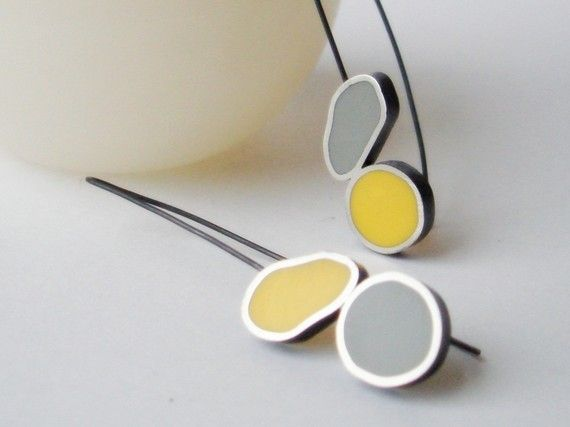 Yellow & Grey Ruggedy Round Earrings in oxidised sterling silver r by etsy artist SignaturebyNatonia