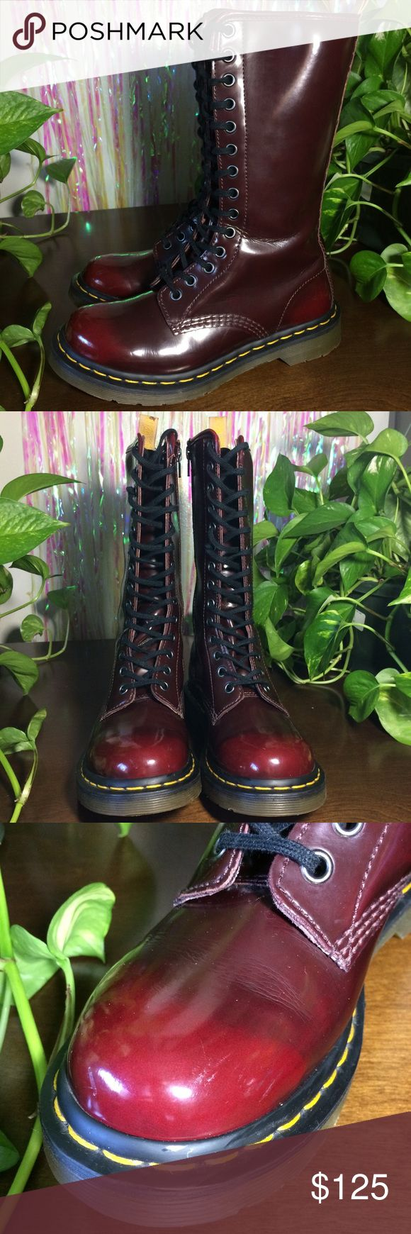 """Vegan Dr. Martens Cherry 🍒 Red Tall Boots 14 Eye. UK 4. US Women's 6. Side zipper entry. Normal creasing. Minor scuffing on toes & sides.   Insole - 9.25""""  *I'm not responsible for the fit of an item*  🚫 I don't discuss prices through comments, please use the offer button!  ⚡️ Same-day or next-day shipping 📬 All packages handled with care 📦 Bundle 2+ items for a discount 👽 Follow for new items & sale updates 🏡 Pet-free & smoke-free home 💖 Please, read shop policies! :) Dr. Martens…"""