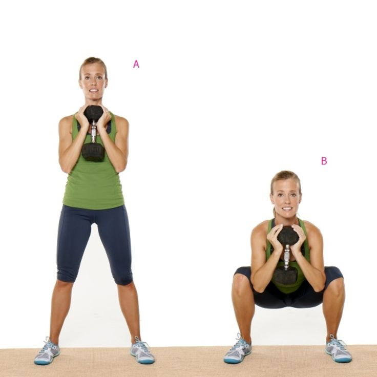 Strength: Goblet Squat  http://www.prevention.com/fitness/strength-training/anti-aging-workout-routine-and-exercises?slide=2