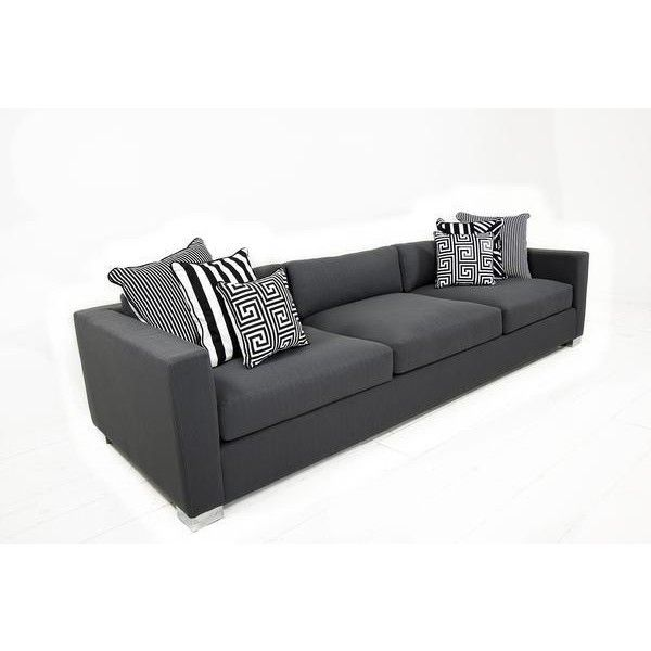 Shoreclub Sofa in Zuma Charcoal ($2,845) ❤ liked on Polyvore featuring home, furniture, sofas, dark grey furniture, dark grey couch, charcoal furniture, charcoal grey couch and dark gray sofa