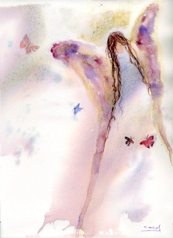 Angel Art Print, Butterfly Art Print, Butterfly Angel, Print of Original Watercolor by Carol DeLorenzo  etsy