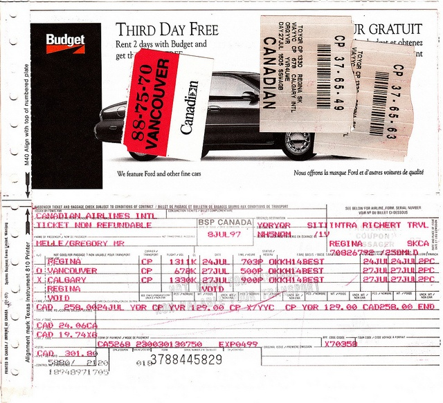 Canadian Airlines ticket receipt and boarding passes.  Flights between Regina SK and Vancouver BC in July 1997.     http://www.maxonking.com