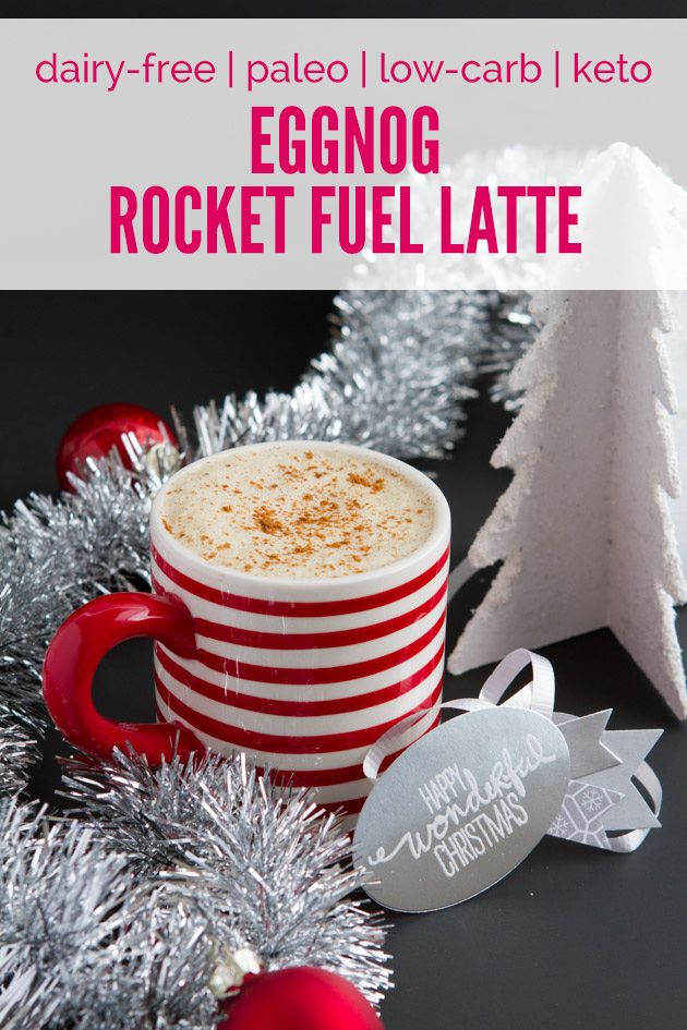 Eggnog Rocket Fuel Latte | Healthful Pursuit 1 cup (8.5 oz) brewed coffee, I use this clean decaf ¼ cup full-fat coconut milk 1 tablespoon MCT oil or coconut oil 1-2 egg yolks (from organic, free range eggs) 2 tablespoons grass-fed collagen, optional ⅛ teaspoon ground allspice ⅛ teaspoon ground nutmeg ¼ teaspoon ground cinnamon 2-3 drops alcohol-free liquid stevia