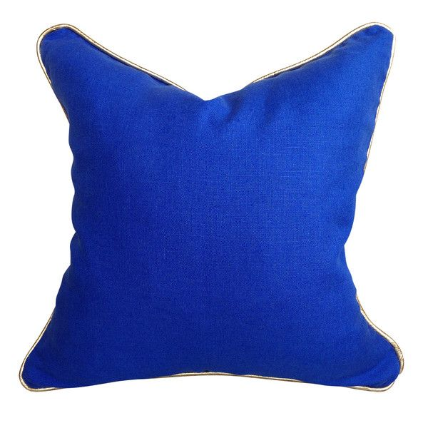 Signature Linen & Leather Cushion in Cobalt