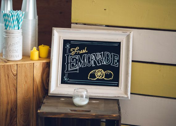 This is an adorable hand lettered, hand made rustic country barn style lemonade chalkboard sign. This is the perfect sign for a lemonade