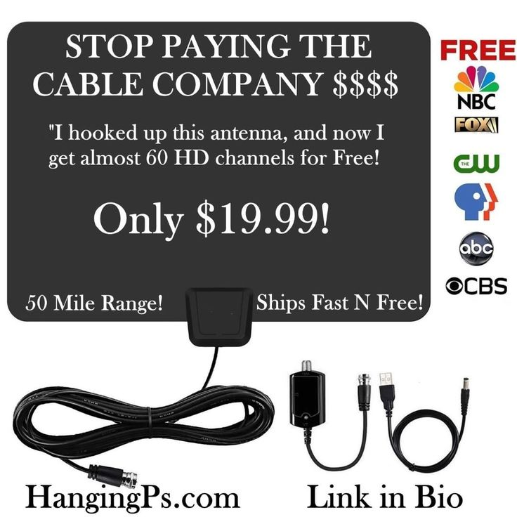 Cut the Cord!  Stop wasting money!  Tell the cable company to take a hike! Get this awesome HD 1080P Antenna for only $19.99 with Free Shipping!  Just plug it in and scan for Free channels!  Most people get 30-50 Free channels in larger cities.  Just go to HangingPs.com and get yours today!  Http://HangingPs.com  #tv #cutthecord #cordcutting #cable  #airtv #newyork #newyorkcity #losangeles #chicago #houston #dallas #miami #phoenix #philadelphia #sanantonio #denver #boston #kansascity…