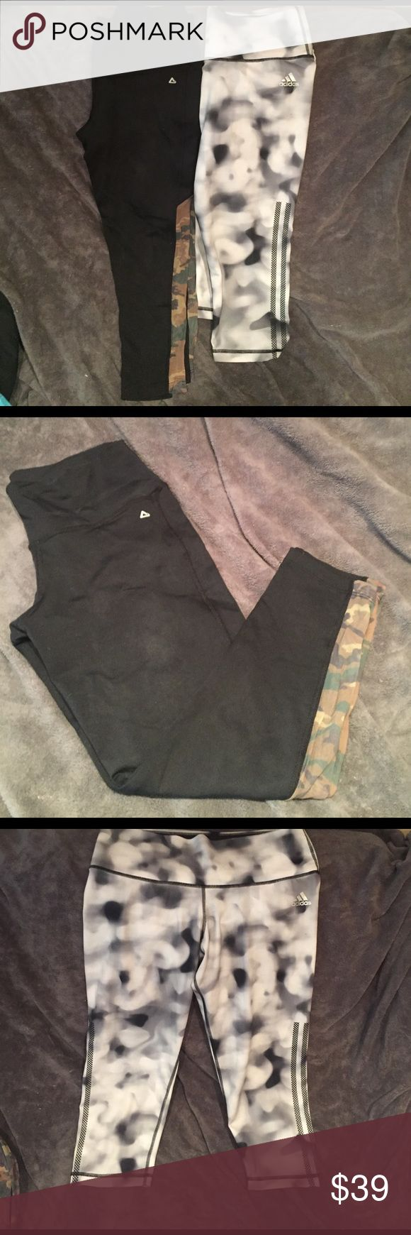 "BUNDLE! Two pair brand name ladies workout pants Black camo mesh Affitnity pant & black/white/gray watercolor Adidas pant. Both in great condition & o KY worn a handful of times. One small pindot orange stain below Adidas logo but otherwise no other marks. Retail Affitnity $88 & Adidas $59. Affitnity top to bottom 28"" Adidas top to bottom 27"" Adidas Pants Track Pants & Joggers"