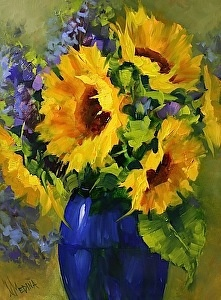 Sun Star Sunflowers by Nancy Medina Oil ~ 16 x 12