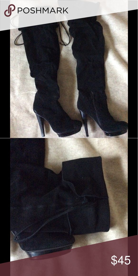 Steve Madden over the knee suede boots Over the knee suede boots, surprisingly comfortable! Inside ankle area has zipper for release to pull on. Steve Madden Shoes Over the Knee Boots