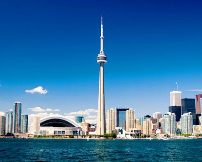 Toronto, Canada.   CN Tower.  Has an awesome 360 degrees rotating restaurant.    Fab observation deck too!