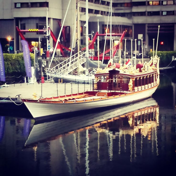 Awesome to see the Royal barge moored at St Katharine Docks in London #Gloriana