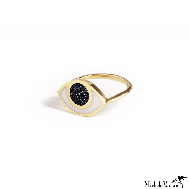 Eye Ring Goldstone and White Agate