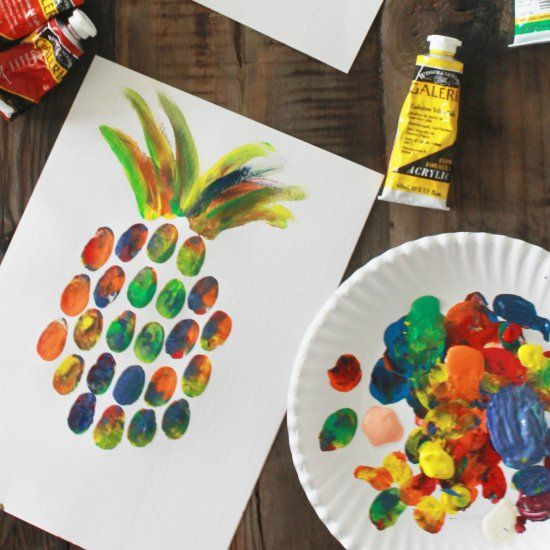 Make fun pineapple prints with your hands! No tools, no cleanup!
