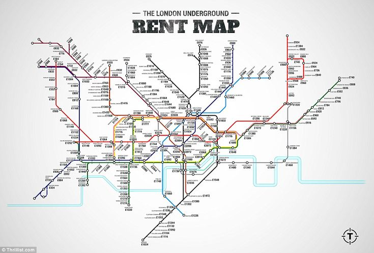Handy: The London Rent Map shows the average monthly rent price for a one-bedroom flat within a kilometre of the Tube station