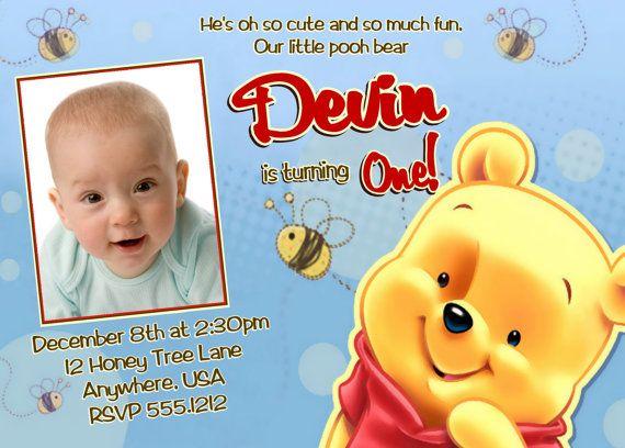 Winnie the Pooh Birthday Invitations, Printable Photo Card, Digital File on Etsy, $15.00