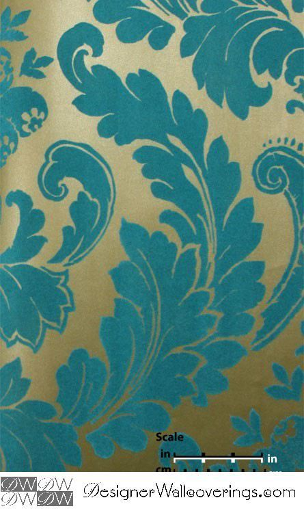 Boogie Nights Retro Flock Velvet Scroll Baroque Wallpaper  [WOF-67018] Velour…