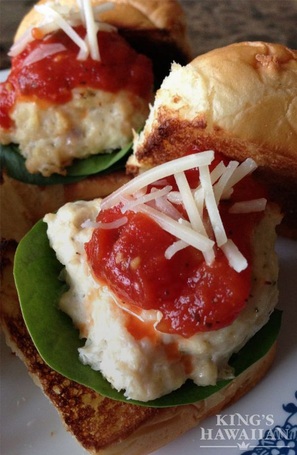 Cheesy Chicken and Mozzarella Meatball sliders