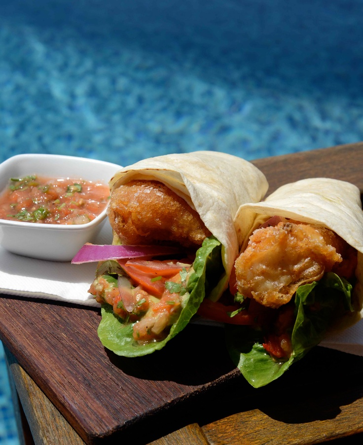 Pool bar fish tacos