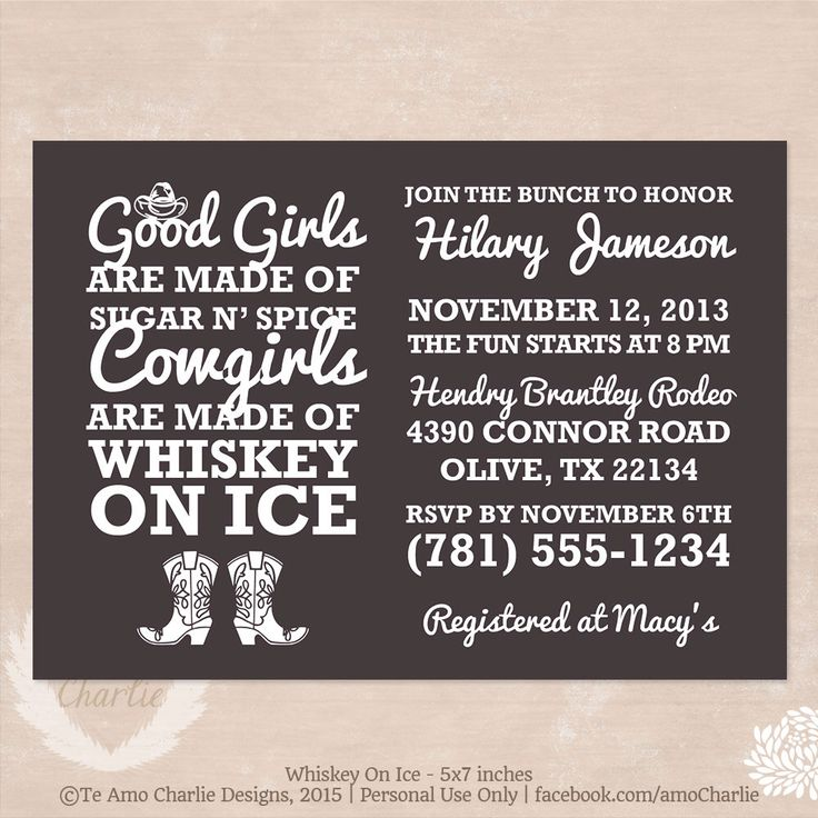 Whiskey on Ice Cowgirl Bachelorette Party Invitations - Western Bachelorette Invitations by TeAmoCharlie on Etsy https://www.etsy.com/listing/171533081/whiskey-on-ice-cowgirl-bachelorette