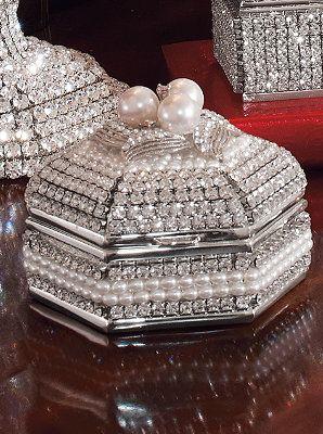 Crystal and pearl trinket box.