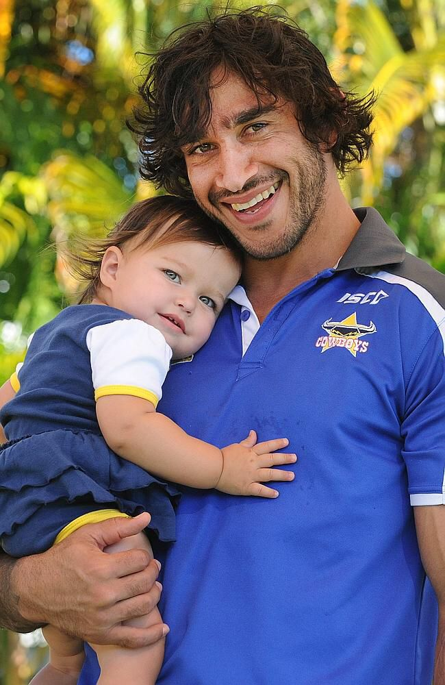 Johnathan Thurston with his biggest fan, his daughter Frankie.