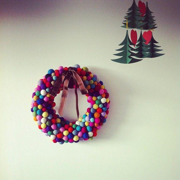 My felt ball wreath