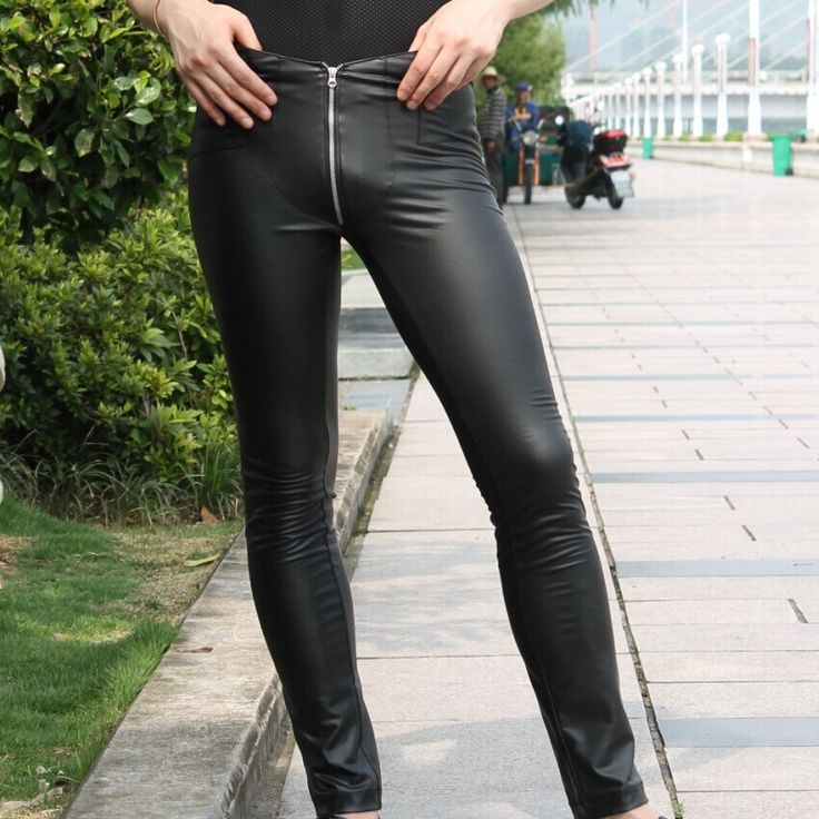 32.05$  Watch here - Color charm Jitu men's casual pants Tight Sexy Cool waist leather crotch zipper feet MSN-02 jeans  #buyininternet