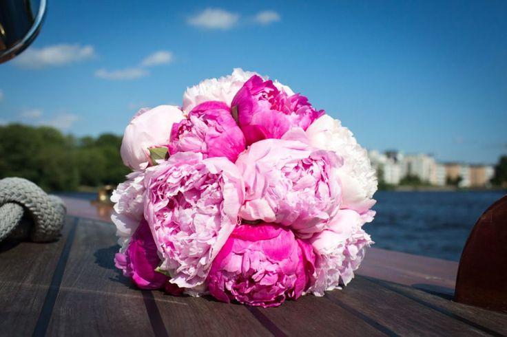 Brautstrauss rosa und rote Pfingstrosen F & O