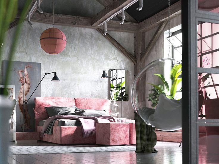 Холодные бетонные стены, состаренные доски на полу и розовая вельветовая мебель – новая формула лофта, которая понравится каждой девушке