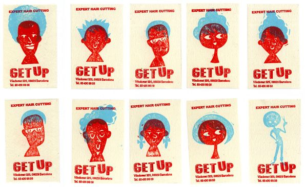 Get Up business cards made with rubber stamps, by Alexis Rom - Atelier Vostok. http://alexisromestudio.eu/
