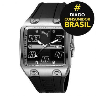 Ricardo Eletro Relógio Masculino Puma, Analógico, Pulseira de Borracha, Caixa de 4,4 cm, R$ 170,90