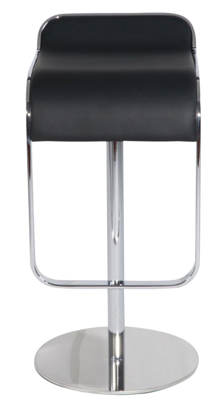 Black Italian Leather Piston Bar Stool for Home Decor - Black LEM Piston  Style Bar Stool