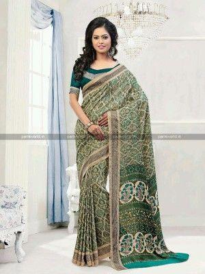 Beige N Teal Green Pashmina Printed Casual Saree