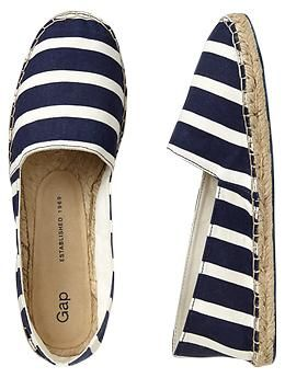 Printed espadrille slip-ons, Gap, navy blue and white stripes, espadrilles, summer shoes, slip-ons, $39.95