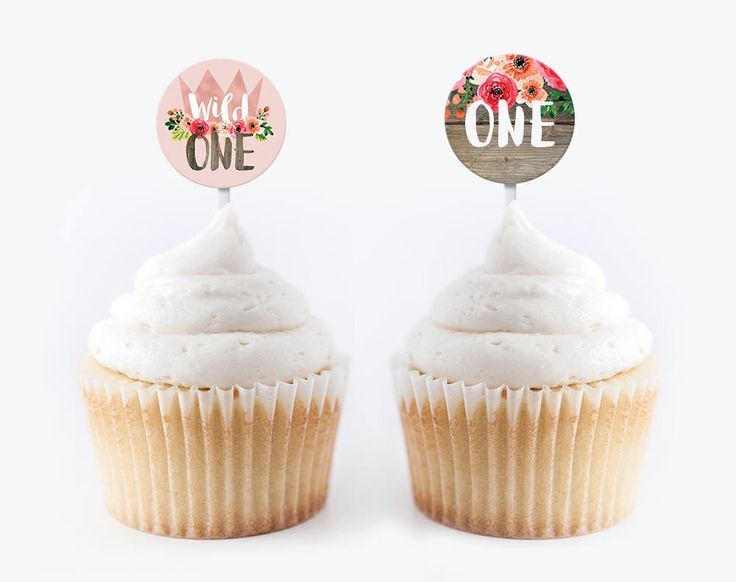 Rose Gold Girls Wild One Cupcale Toppers, 1st birthday party decor, Floral water bottle labels, Rose Gold decor, Wild one decor