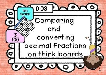 This packet contains ready to print and Laminate decimals and fractions. All decimals are included for tenths and hundredths. Children are to sort the different representations (Pictorial/concrete grid, word form, digits, fraction and place value table) of each onto a think board.