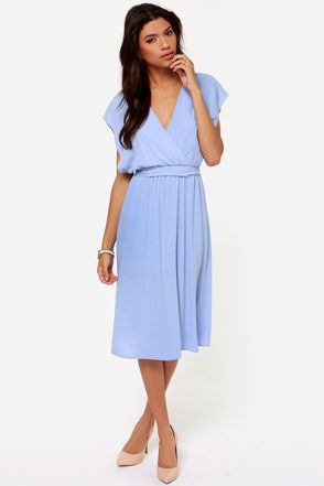 Season's Sweetings Periwinkle Midi Dress: I like the shape and length but don't think that color would be very flattering