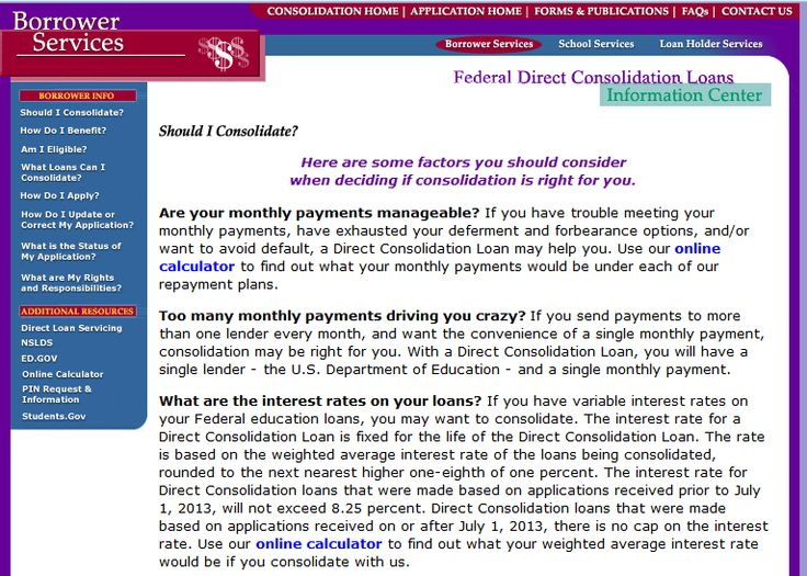 Federal Direct Consolidation Loans Information Center has