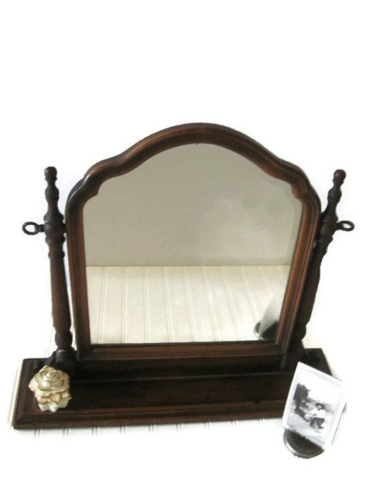 Vintage Table Top Dresser Mirror With Wood Swing Frame By Relic