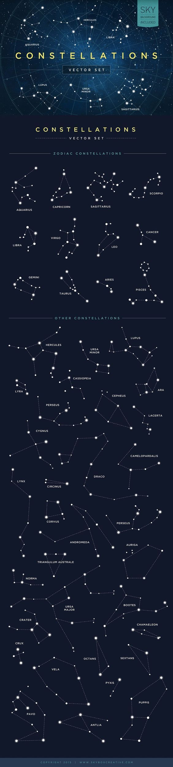 Constellations Vector Set by skyboxcreative #Illustration #Constellation   tatuajes | Spanish tatuajes  |tatuajes para mujeres | tatuajes para hombres  | diseños de tatuajes http://amzn.to/28PQlav