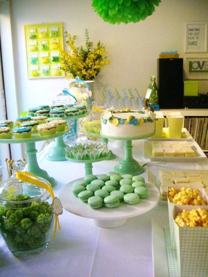 yellow and blue sweet table