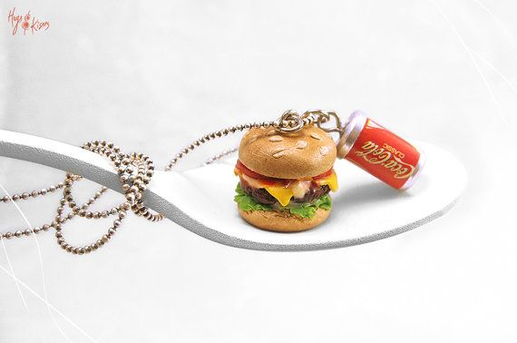 Cheeseburger Necklace, Hamburger Necklace, Soda Can Necklace, Fast Food Jewelry, Miniature Food Jewelry, Kawaii Jewelry, Pendant Teenager gift