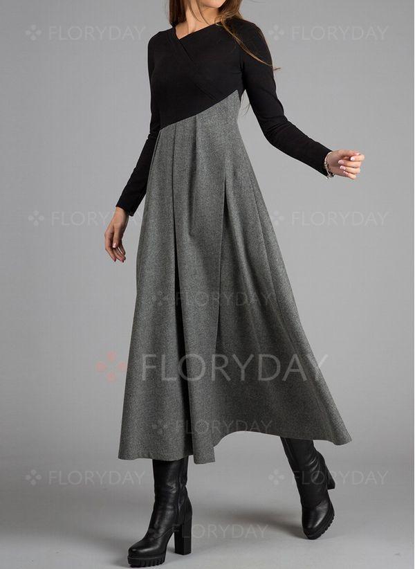 Siti Abiti Eleganti.Elegant Color Block V Neckline Long Sleeve Midi Dress Nel 2020