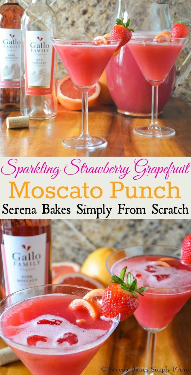 Sparkling Strawberry Grapefruit Moscato Punch | Serena Bakes Simply From Scratch