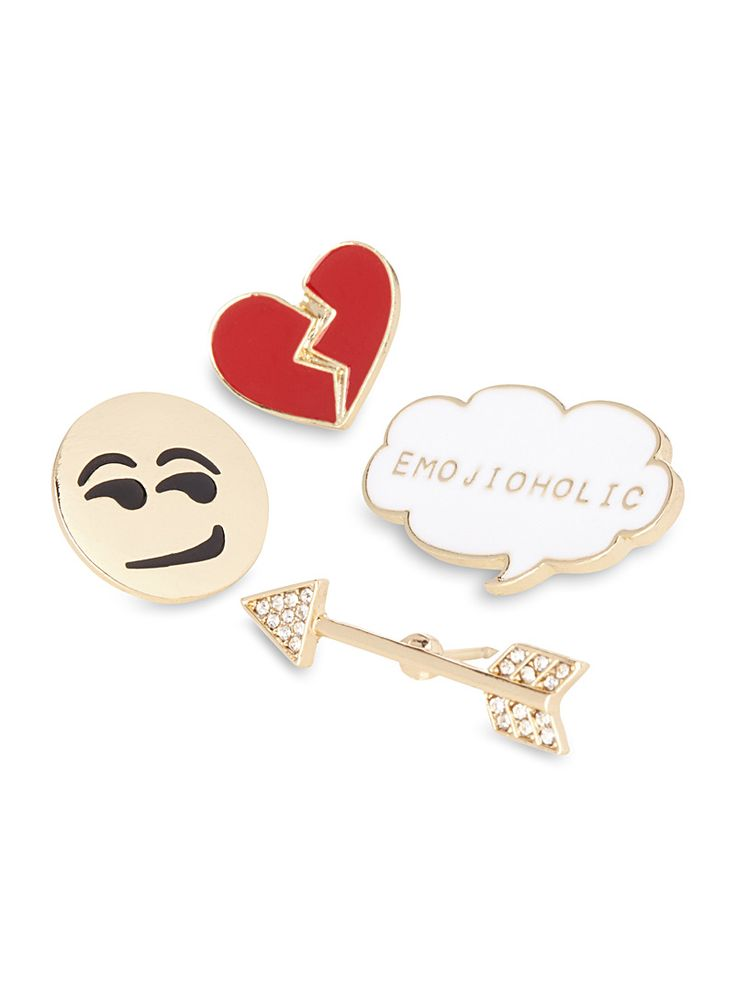 """Take your love of emoticons with you everywhere and stylishly express your personality   Set of 4 pins: a smiley emoji, a broken heart, an arrow and a speech bubble with the word """"emojiholic""""   Lacquered metal   Push back closure   Sizes: 1 to 3.5 cm"""