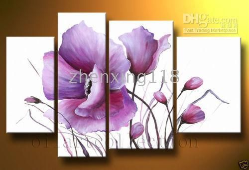 Venta al por mayor 100% Artesanía Arte Moderno pared de la lona Pinturas Decoración de aceite: Purple Flower, $ 78.38-85.5/Piece | DHgate