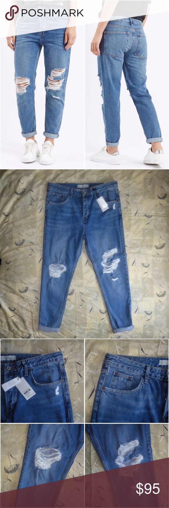 """🎉HP🎉 Topshop Blue Ripped Hayden Boyfriend Jeans Brand: Topshop Style: Hayden (Loose Fit Authentic Boyfriend) Size: 32x34 Color: Medium Blue Material: 60% Cotton, 40% Lyocell  Measurements:   Waist: 17.5"""" flat across, 35"""" around Rise: 11.5"""" Inseam (uncuffed): 28.5"""" Inseam (cuffed twice): 26.5"""" Leg Opening: 6""""  These jeans are brand new with tags and are a beauty. They are a boyfriend fit and feature distressing along the legs. They have a button fly closure (no zip) as well as five pockets…"""